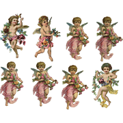 Victorian Die Cuts, Angels with Flowers, 8 Pcs. #49