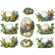 Victorian Easter Die Cuts, Beautiful Eggs and Flowers, c.1870s Albrecht & Meister #52