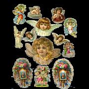 Group of Antique Die Cut Angels or Cherubs #54