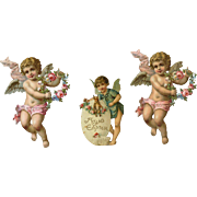 Angels or Cherubs with Flower Wreaths, Finds Bunny Rabbit in Egg Victorian Die Cuts, #63