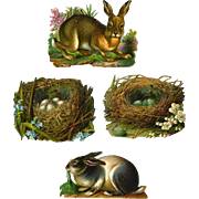 Large Rabbits and Nests of Eggs, Victorian Die Cuts #60