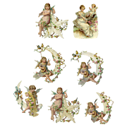 Angels on Stars and Moons, Unique Intricate Victorian Die Cuts #23