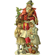 Santa Plays Violin, Boy and Girl Sing, Victorian Christmas Die Cut #71