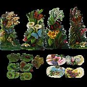 Victorian Die Cuts, Bugs, Bows, Butterflies, Flowers, Embossed #200