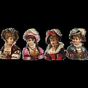 Victorian Die Cuts, Elizabethan Ladies, Detailed Embossing #64A