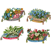 Bunches of Flowers on Tassled Pillows, Victorian Die Cuts, #14