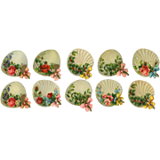 10 Antique Die Cut Fans with Bows, Flowers, Hollly, Mistletoe #15