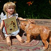 1890s Miniature Nister Book, Pet Puppy, 4 Chromos, Snowman