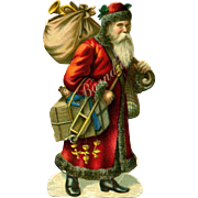 Victorian Die Cut Santa with Doll Toys, 3.25 inch Quality Detail Printing #142