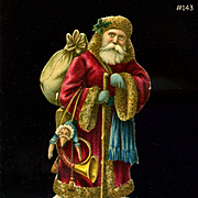 c1890s Victorian  Die Cut Santa with Doll Toys, 3.25 in. Size Quality Printing #143