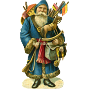 c1890s Victorian  Die Cut Santa with Doll Toys, 3.25 in. Size Quality Printing #144