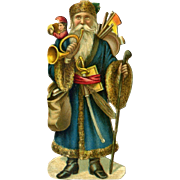 c1890s Victorian  Die Cut Santa with Doll Toys, 3.25 in. Size Quality Printing #145