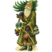 c1890s Victorian  Die Cut Santa with Tree, Sword, 3.25 in. Size Quality Printing #146