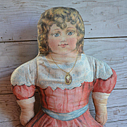 Antique Lithograph Cloth Doll, 18 in. Printed Red Clothes