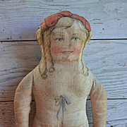 c.1900 Lithographed Cloth Doll 17 inches.
