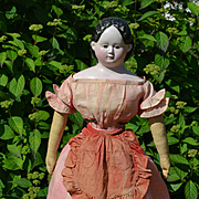 All Original 23 inch 1858 Glass Eyed Greiner, Early Calico Clothing