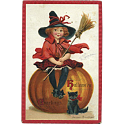 1912 Signed Brundage Halloween Postcard, Little Girl Witch with Broomstick Sits on Big JOL, Black Kitty, Samuel Gabriel #69
