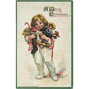 Early Signed Frances Brundage Christmas Postcard, Happy Child in Pajamas with Arms Full of Toys, Doll, Teddy, Samuel Gabriel #71