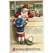 1912 Signed Clapsaddle Christmas Postcard, Child Talks To Santa at Toy Store Counter, Int'l Art Pub. #72