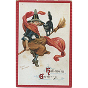 1910s Signed Frances Brundage Halloween Postcard, Happy Witch and Kitty on Broomstick Ride, Gabriel Pub. #74