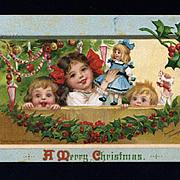 1911 Signed Frances  Brundage Christmas Postcard, Children, Doll, Holly, Decorated Tree, Sam. Gabriel Pub. #76
