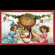 c1911 Signed Frances Brundage Halloween Postcard, Little Girls Dance Around JOL, Sam Gabriel Pub. #77