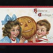 1910s Signed Frances Brundage Halloween Postcard, Children with Happy Jack O' Lantern, Gabriel Pub. #83