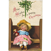 1910s Signed Clapsaddle Christmas Postcard, Cute Little Girl Holds Doll, Mistletoe, Int'l Art Pub. Germany, #89