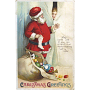 1912 Signed Clapsaddle Christmas Postcard, Kid Watches Santa Fill Stocking, Int'l Art Pub. Germany #91