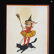 1910s Signed Frances Brundage Halloween Postcard, Girl in Witch Hat on Galloping Cat, Gabriel Pub. #98