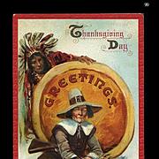 1910 Signed Brundage Thanksgiving Postcard, Indian Watches Pilgrim with Turkey, Gabriel Pub. #99
