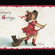 1910s Signed Brundage Halloween Postcard, Kitty Hitches Ride, Girl on Broomstick, Gabriel Pub. #100