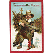 1910 Signed Brundage Thanksgiving Postcard, Comic Pilgrim Has Huge Turkey, Embossed, Gabriel Pub. #101