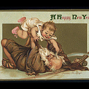 1913 Signed Brundage New Years Card, Father Time Tosses Happy Baby, Embossed Gabriel Pub. #107