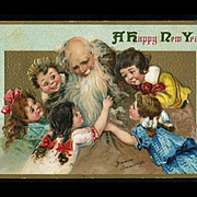 1910s Signed Brundage, Cute Children Climb On, Hug Father Time, Embossed New Year Postcard, Gabriel Pub. #108