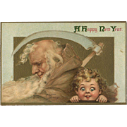1910s Signed Brundage, Father Time, Sickle, Big Eyed Comic Cutie, New Year Postcard, Gabriel Pub. #109