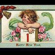 1910 Signed Brundage Cute Girl, January 1 Calendar, New Year Postcard, Gabriel Pub. #110