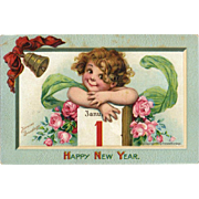 1910 Signed Brundage Cute Girl, January 1 Calendar, New Year Postcard, Gabriel Pub. #110