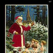 1909 Santa in Silk Suit Leads Little Angel Children in Snowy Christmas Chorus, Church,  Holly, MAB Pub. #117