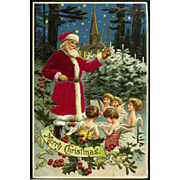 1909 Santa in Silk Suit Leads Little Angel Children in Snowy Christmas Chorus, Church,  Holly, MAB Pub. #117