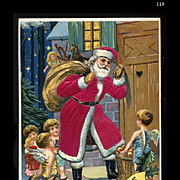 c1909 Germany Santa in Silk Suit, Little Angel Children Deliver Treats, Toys, Doll, MAB Pub. Embossed #119