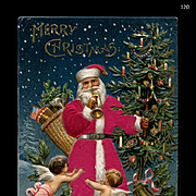 1907 Little Angel Babies Fly Around Santa in Silk Robe, Carries Decorated Tree, Flag, Germany, Embossed, MAB Pub. #120