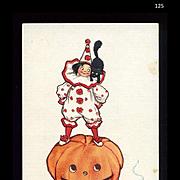 1910 Signed Brundage Halloween Postcard, Kid in Clown Suit, Scaredy Cat on JOL, Gabriel Pub. #125