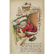 1919 Signed Rose O'Neill Christmas Postcard, Kewpies in Snow Help Santa, Gibson Pub. #133