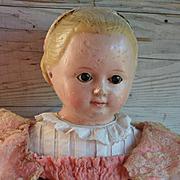 Ca. 1850s Large Sonneberg Taufling Girl, Motschmann body, Alice Hairdo