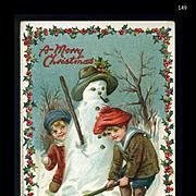 1910s Raphael Tuck Christmas Postcard, Children Build Snowman, Holly Border, #149
