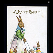 1915 Anthropomorphic Rabbits, Mama Bunny Pushes Baby in Carriage, Embossed Postcard #151