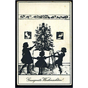 c.1915 Silhouette of Children Dancing Around Christmas Tree, German Postcard, Unused. #161