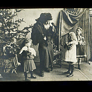 1909 Santa with Switches, Anxious Kids, Crying Boy Real Photo Post Card, Netherlands Postmark RPPC