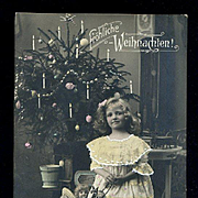 c1908 Little Girl, Dolls, Toy Platform Horse, Tree, Real Photo Christmas Postcard RPPC #172